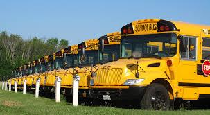 School buses all in a row